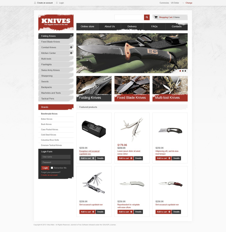 Best Knives on the Web VirtueMart Template New Screenshots BIG