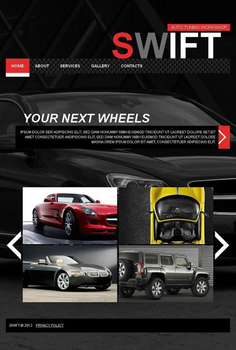 Car Tuning Facebook HTML CMS Template New Screenshots BIG