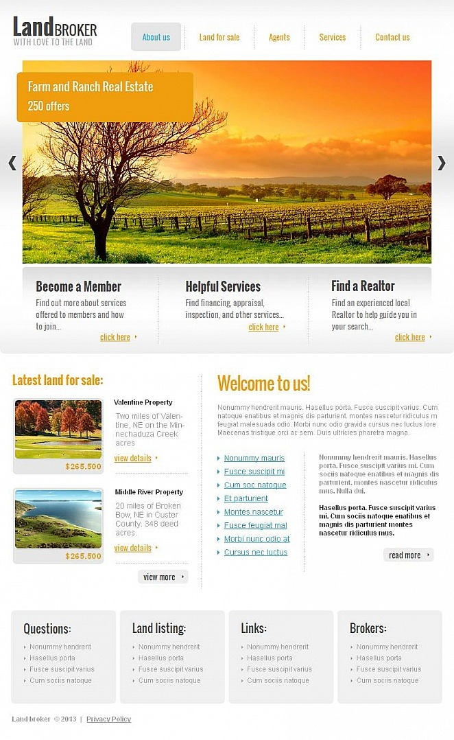Land Broker Facebook HTML CMS Template New Screenshots BIG