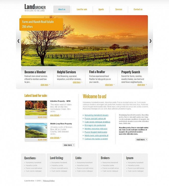 Land Broker Moto CMS HTML Template New Screenshots BIG