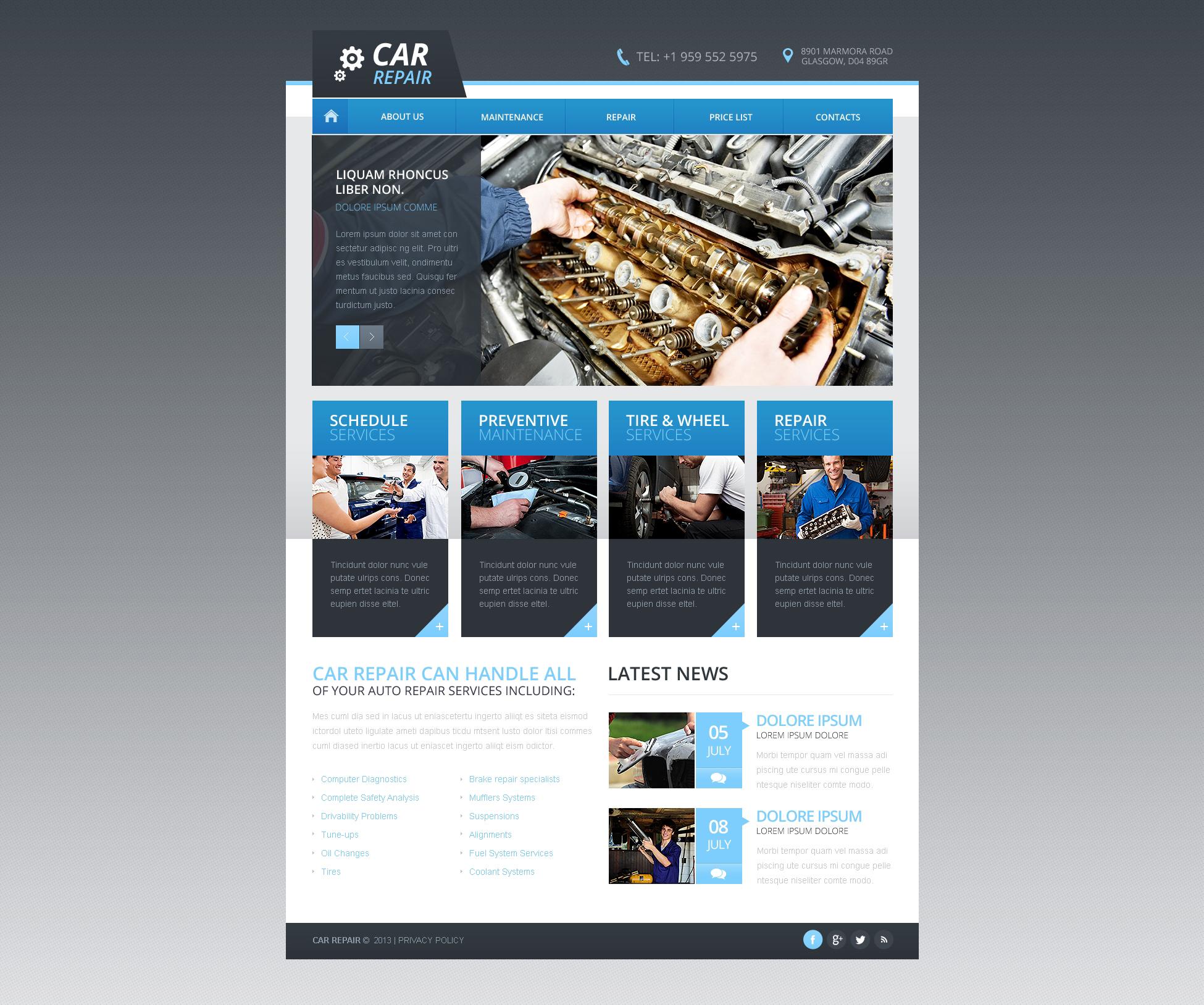 Plantilla Web Responsive para Sitio de Reparación de coches #46200 - captura de pantalla