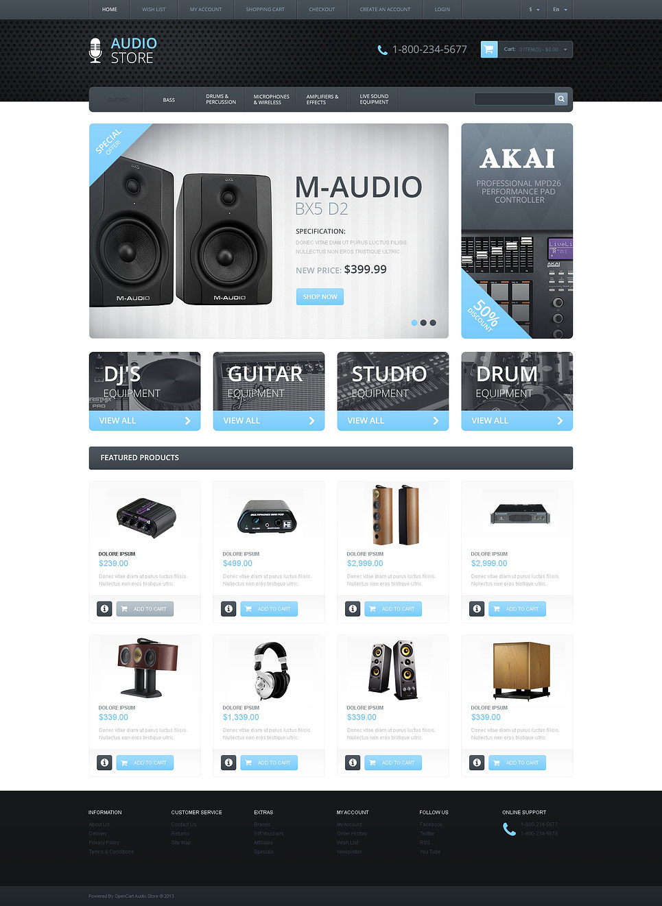 Responsive Audio Store OpenCart Template New Screenshots BIG