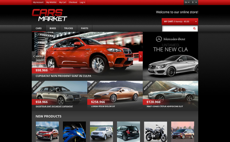 Responsive Cars Market Magento Theme