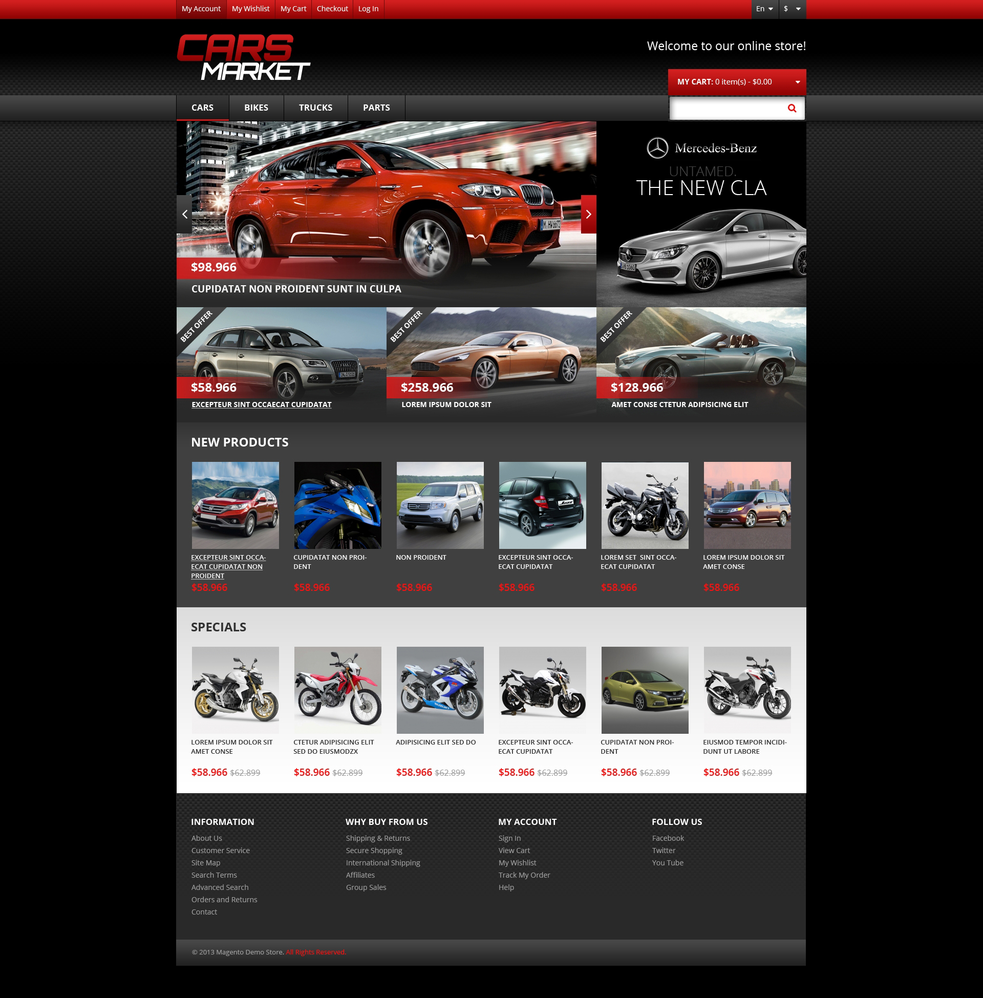Responsive Cars Market Magento Theme - screenshot