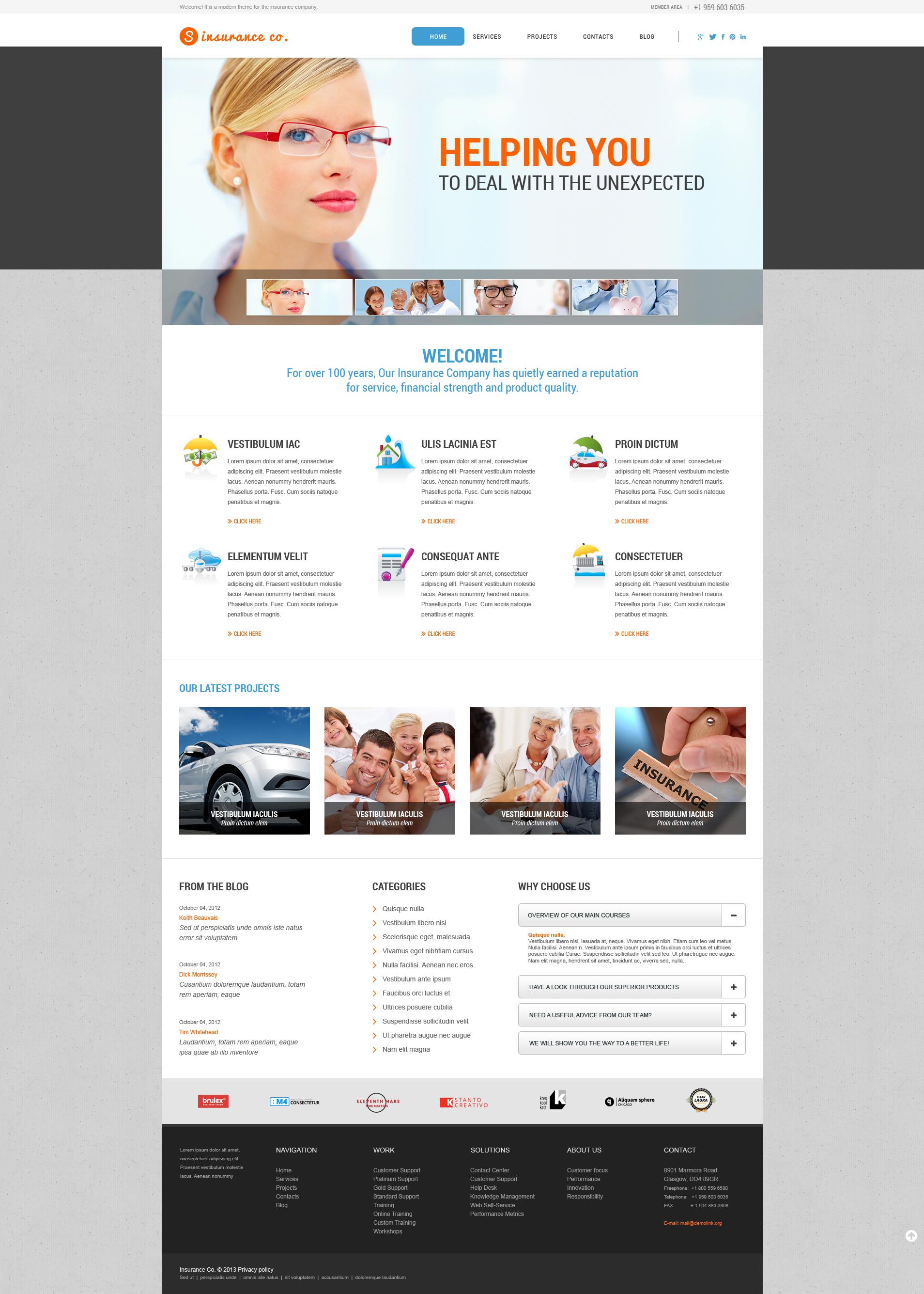 Responsive Insurance Services Wordpress #46279 - Ekran resmi