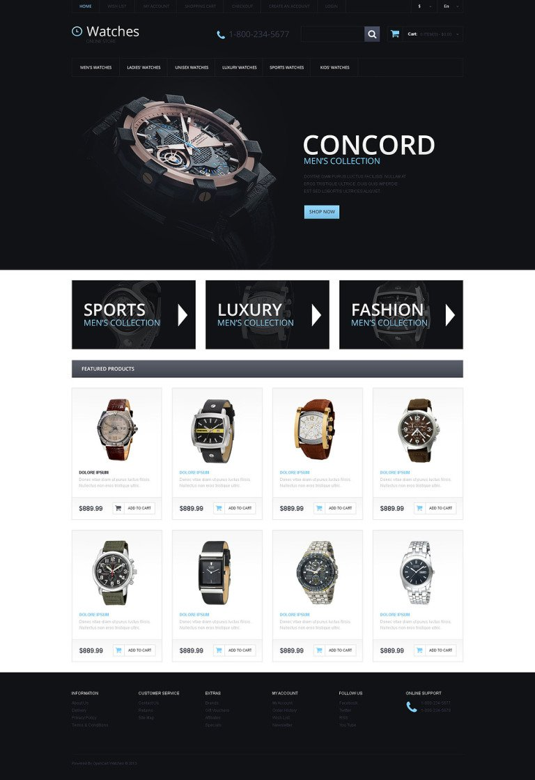 Responsive Watches Store OpenCart Template New Screenshots BIG