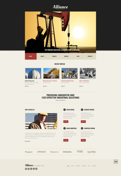 Responsive Website Vorlage für Bergbauunternehmen