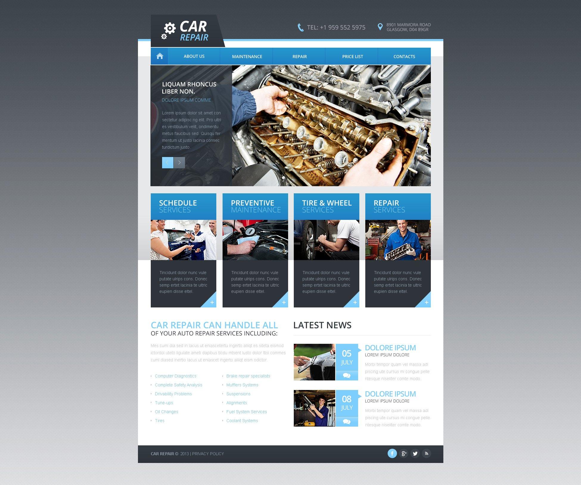Reszponzív Autószerelői Weboldal sablon 46200 - képernyőkép