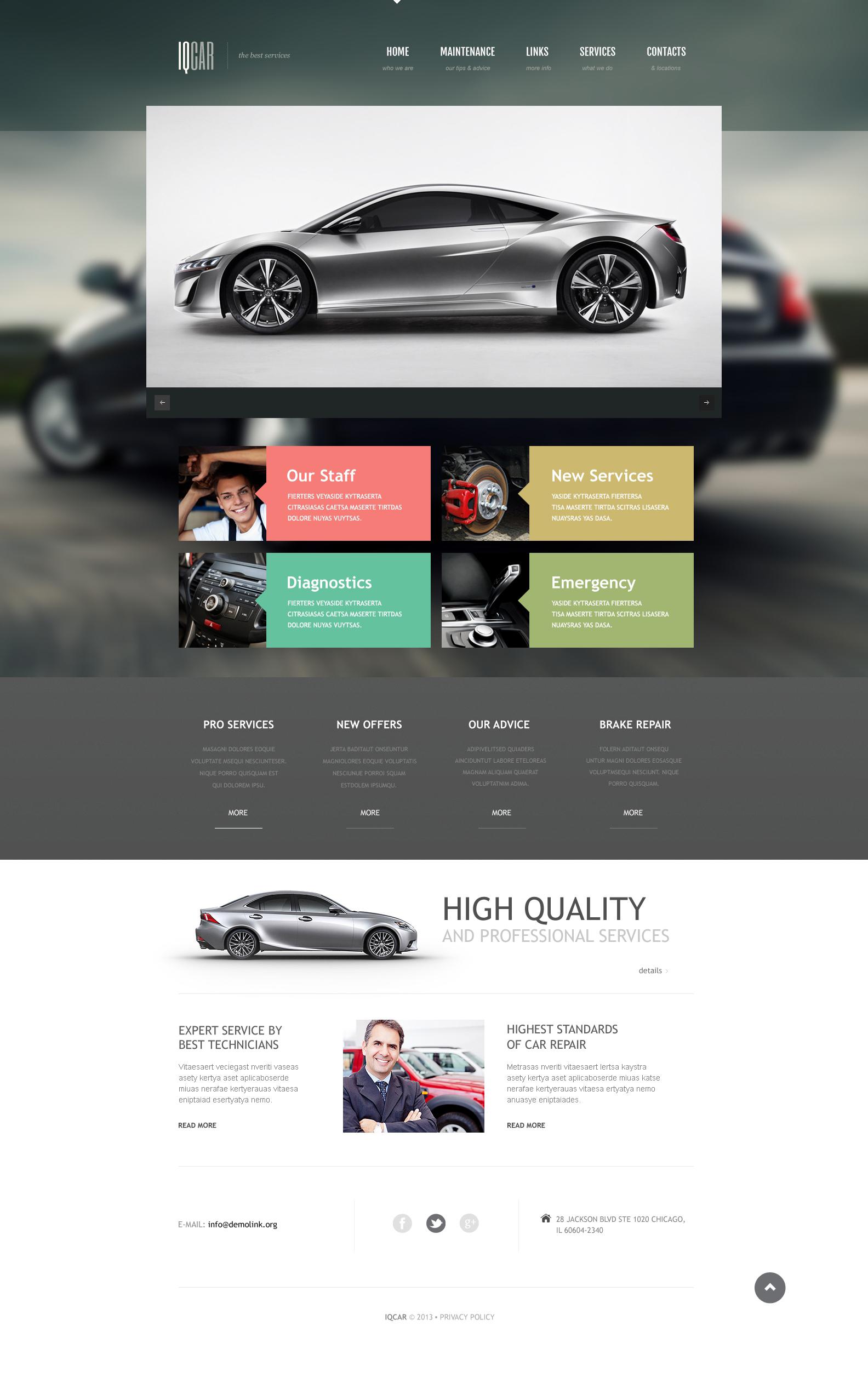 Reszponzív Autószerelői Weboldal sablon 46252 - képernyőkép