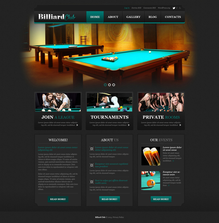 Stylish Billiard Club WordPress Theme New Screenshots BIG