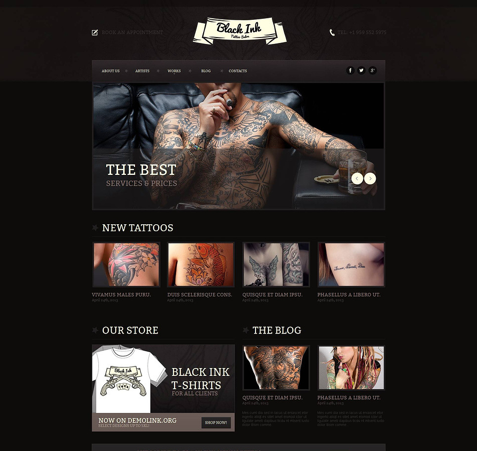 Tattoo Salon Moto CMS HTML Template New Screenshots BIG