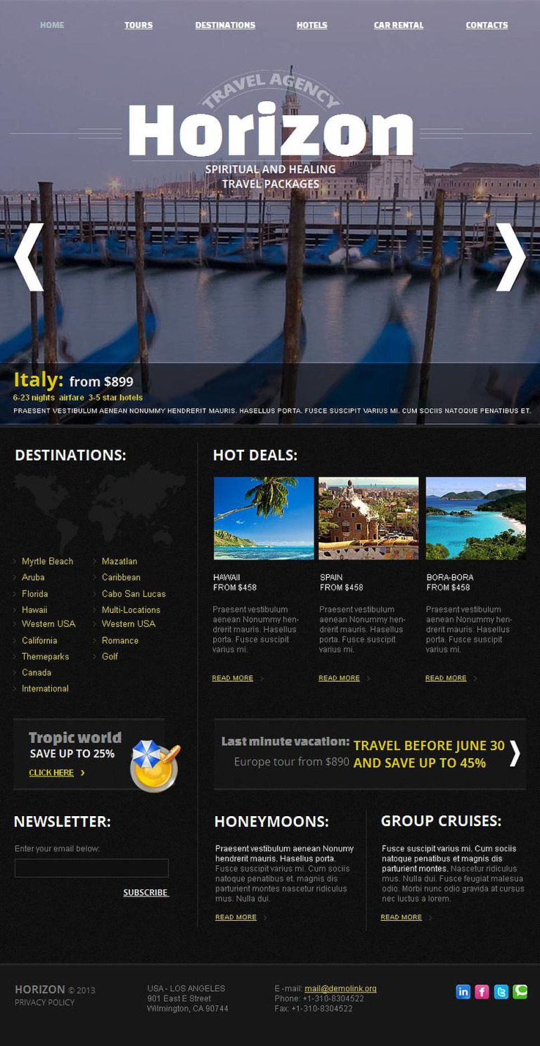 Travel Agency Facebook HTML CMS Template New Screenshots BIG