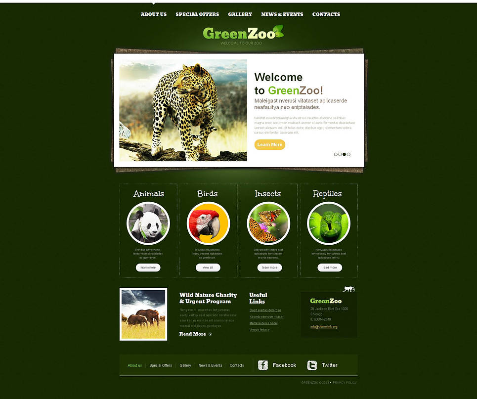 Zoo Website Template with a Green Background - image