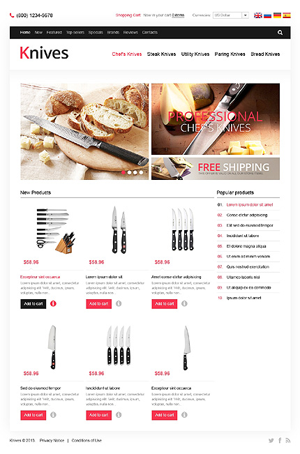 osCommerce Template 46348 Main Page Screenshot