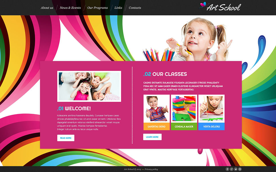 Art School Website Template By WT Website Templates - Artist website templates