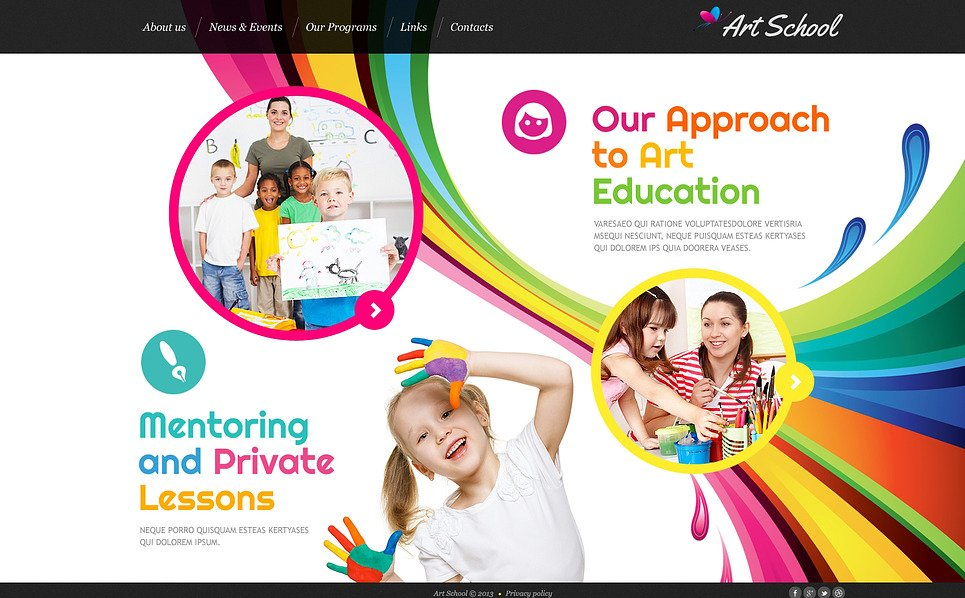 Bootstrap Website template over Kunst School New Screenshots BIG