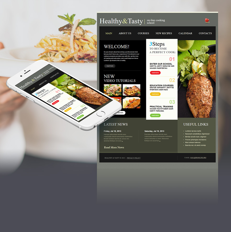 Cooking School Website Template with 3 Column Layout - image
