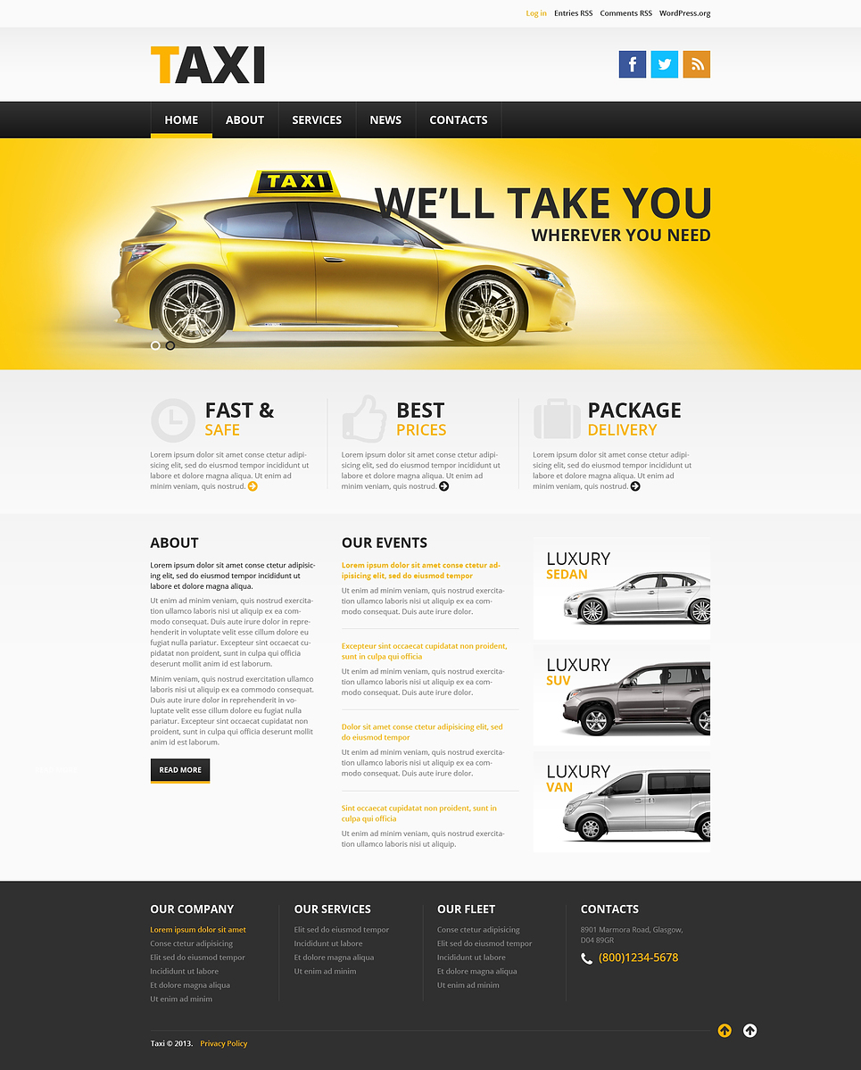 Адаптивный шаблон сайта на тему такси #46379