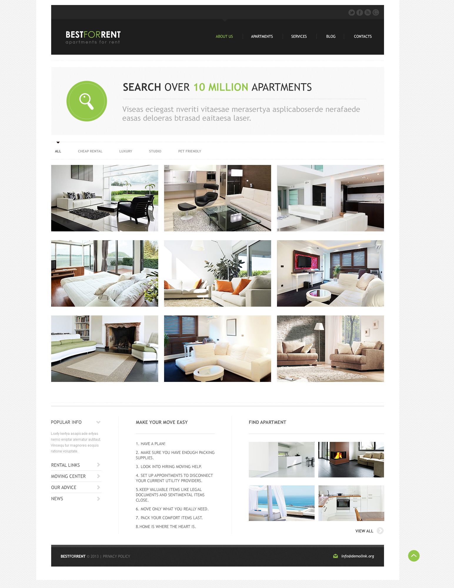 Apartments for Rent Joomla Template 46371 – House for Rent Template