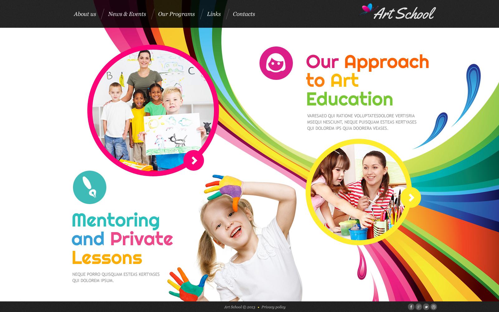 Bootstrap Művészeti iskolák témakörű Weboldal sablon 46362 - képernyőkép