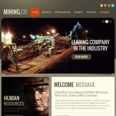 Facebook HTML CMS Vorlage für Bergbauunternehmen