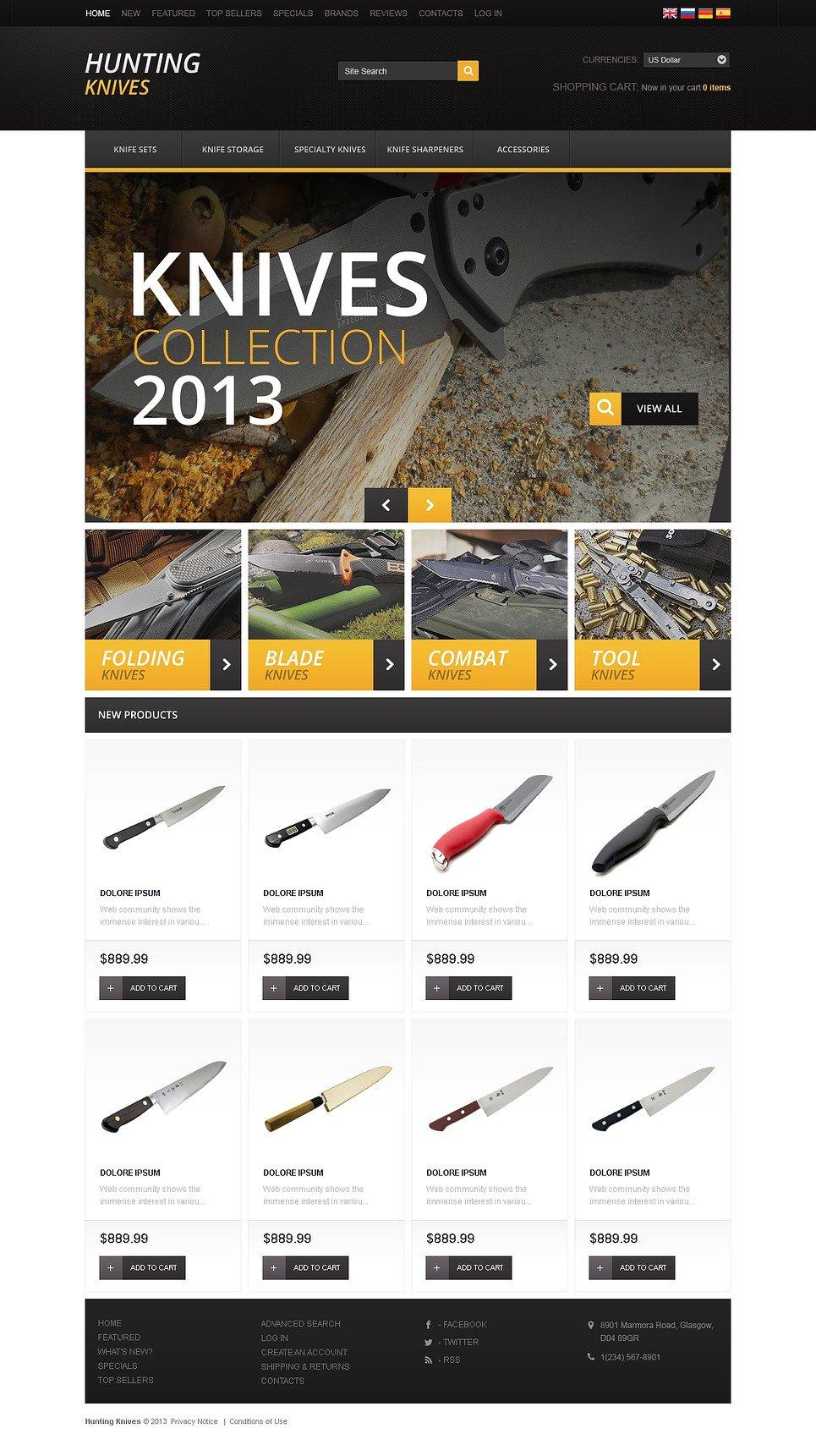 Hunting Knives OsCommerce Template New Screenshots BIG