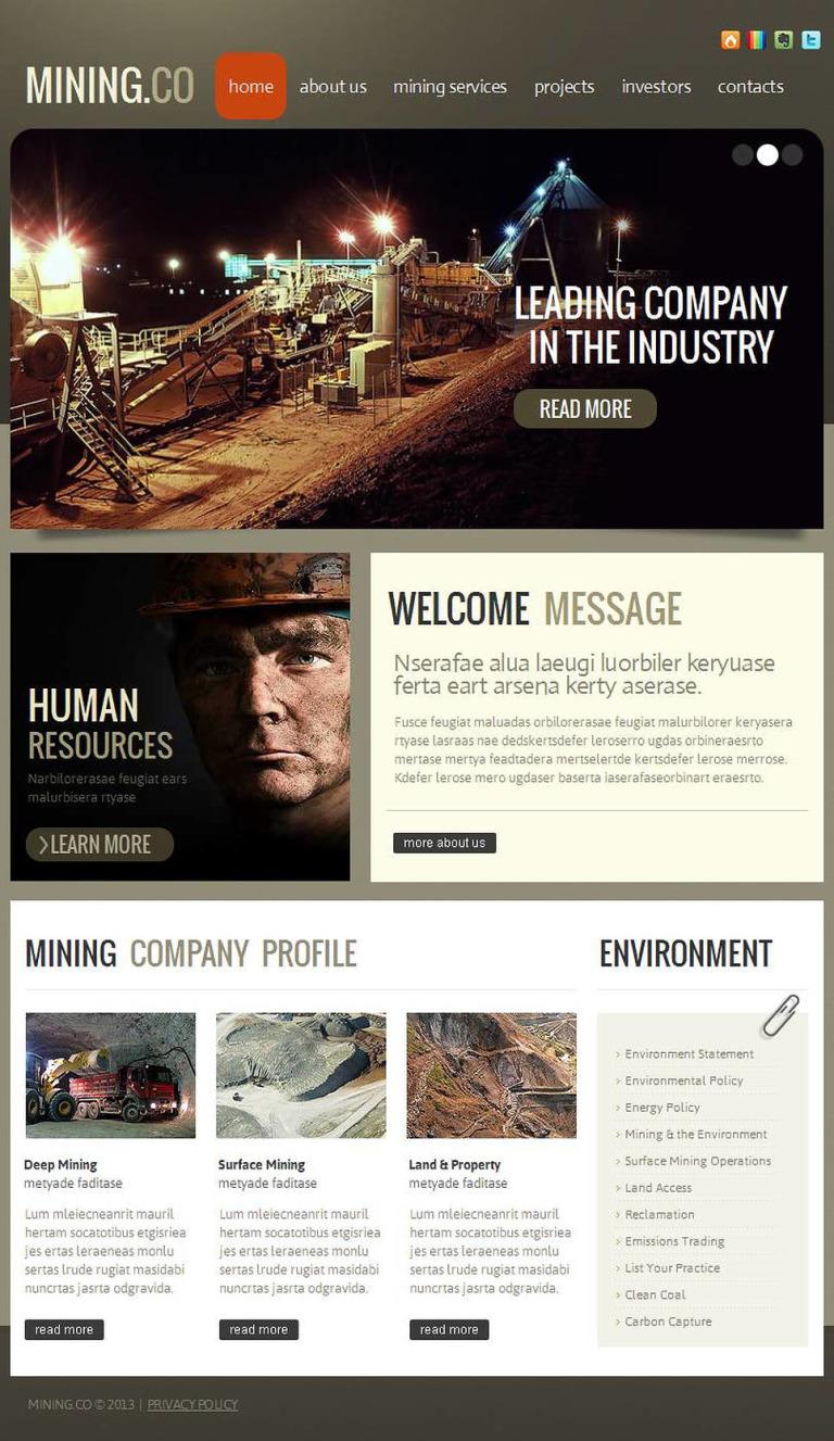 Mining Company Facebook HTML CMS Template New Screenshots BIG