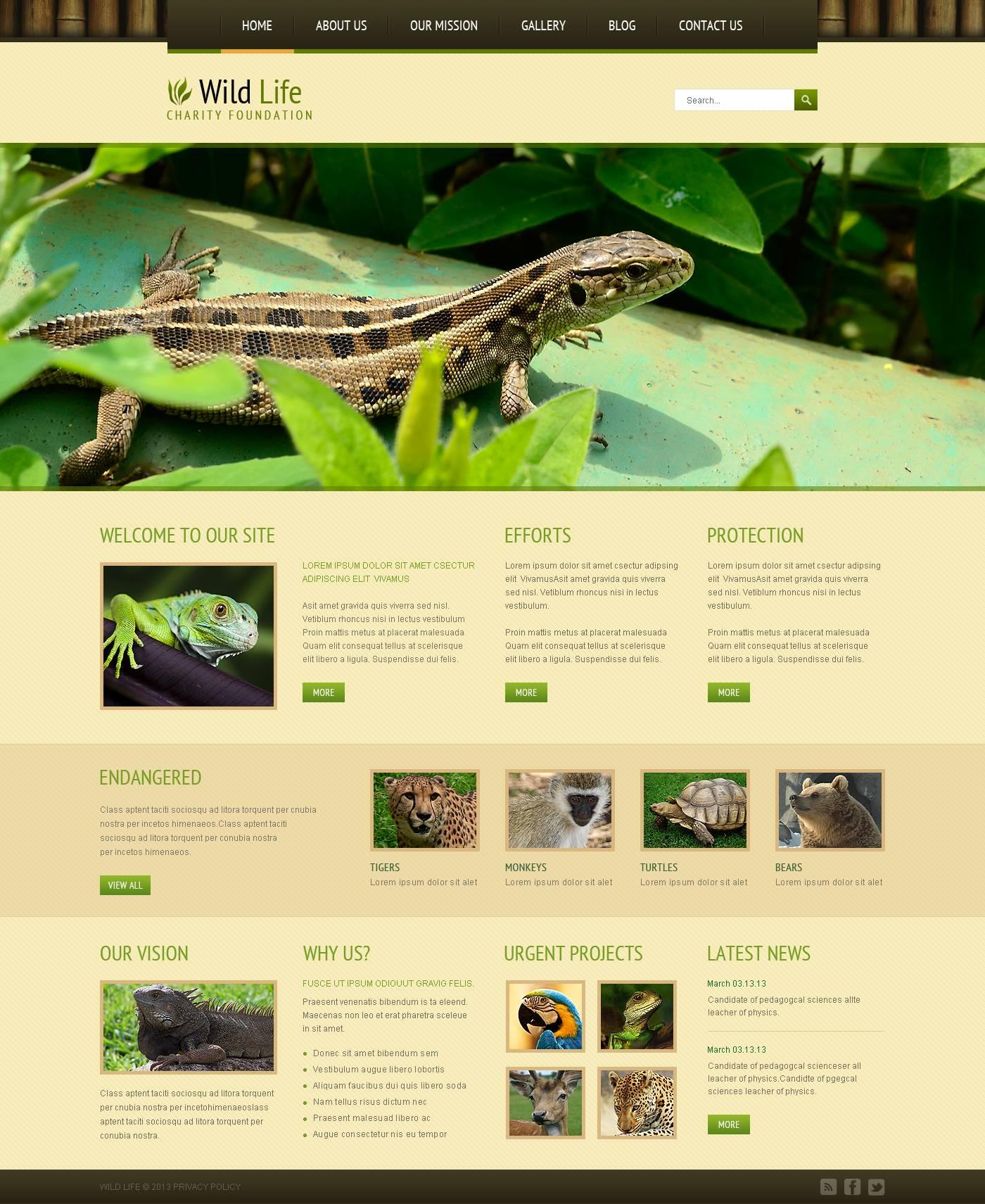 Modello Joomla Responsive #46373 per Un Sito di Animali Selvaggi