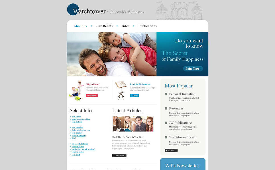 Prémium Jehova Tanúi Moto CMS HTML sablon New Screenshots BIG