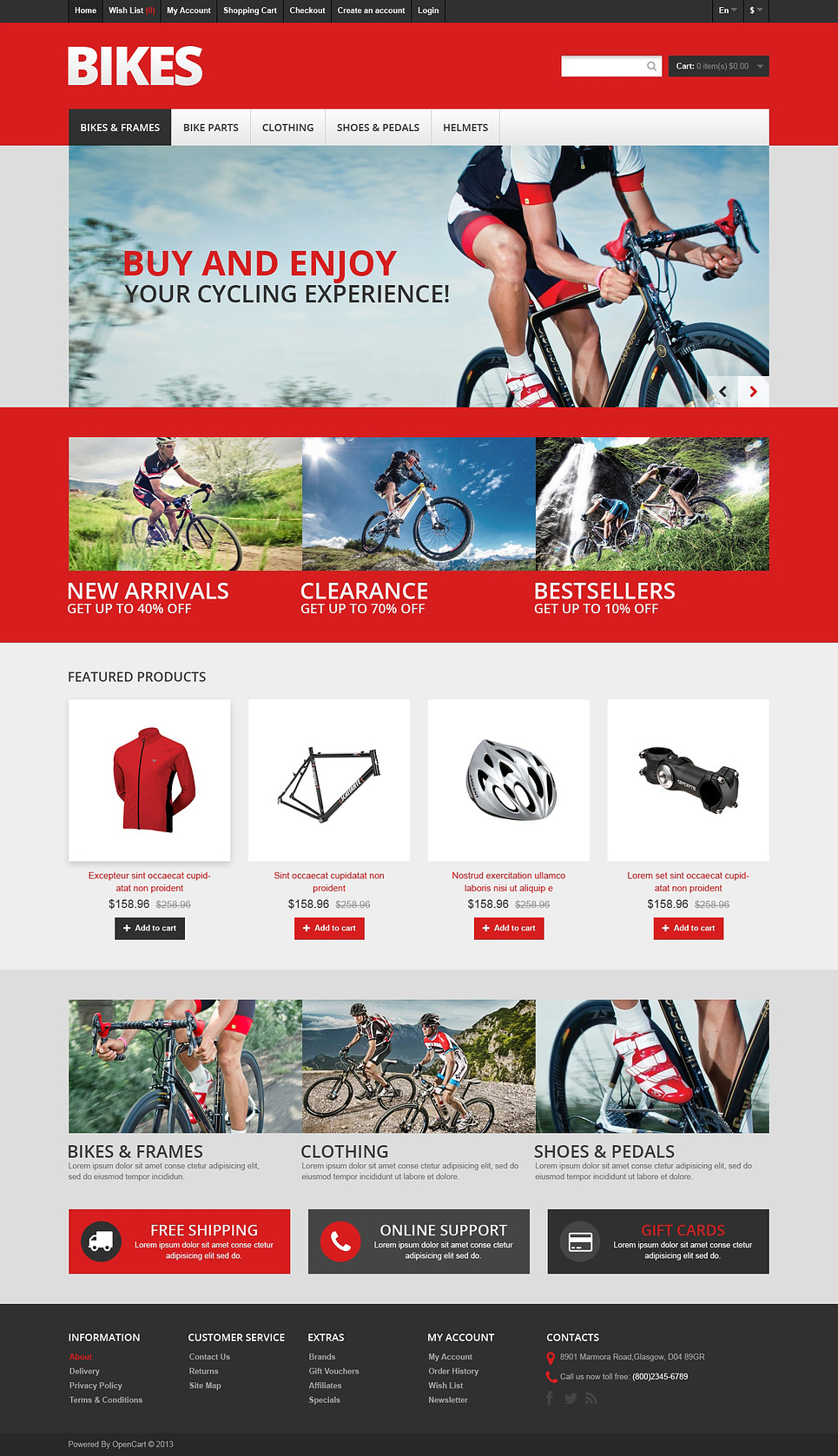 Responsive Bikes Store OpenCart Template New Screenshots BIG
