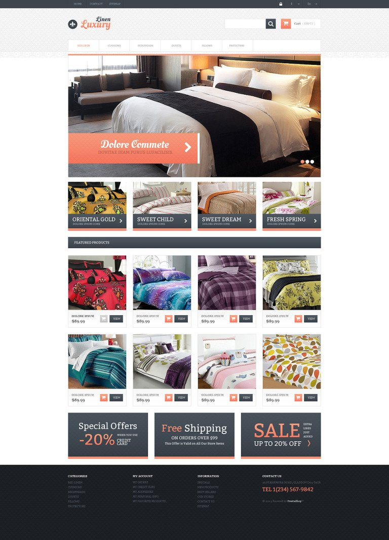 Responsive Linen Store PrestaShop Theme New Screenshots BIG