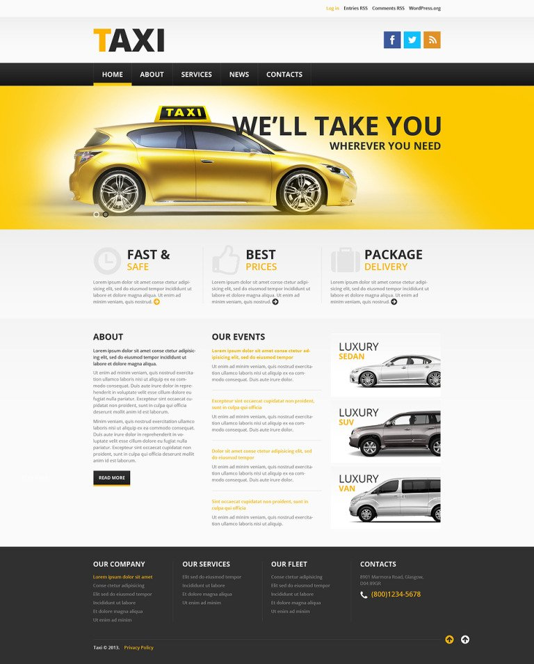 Taxi Services WordPress Theme New Screenshots BIG