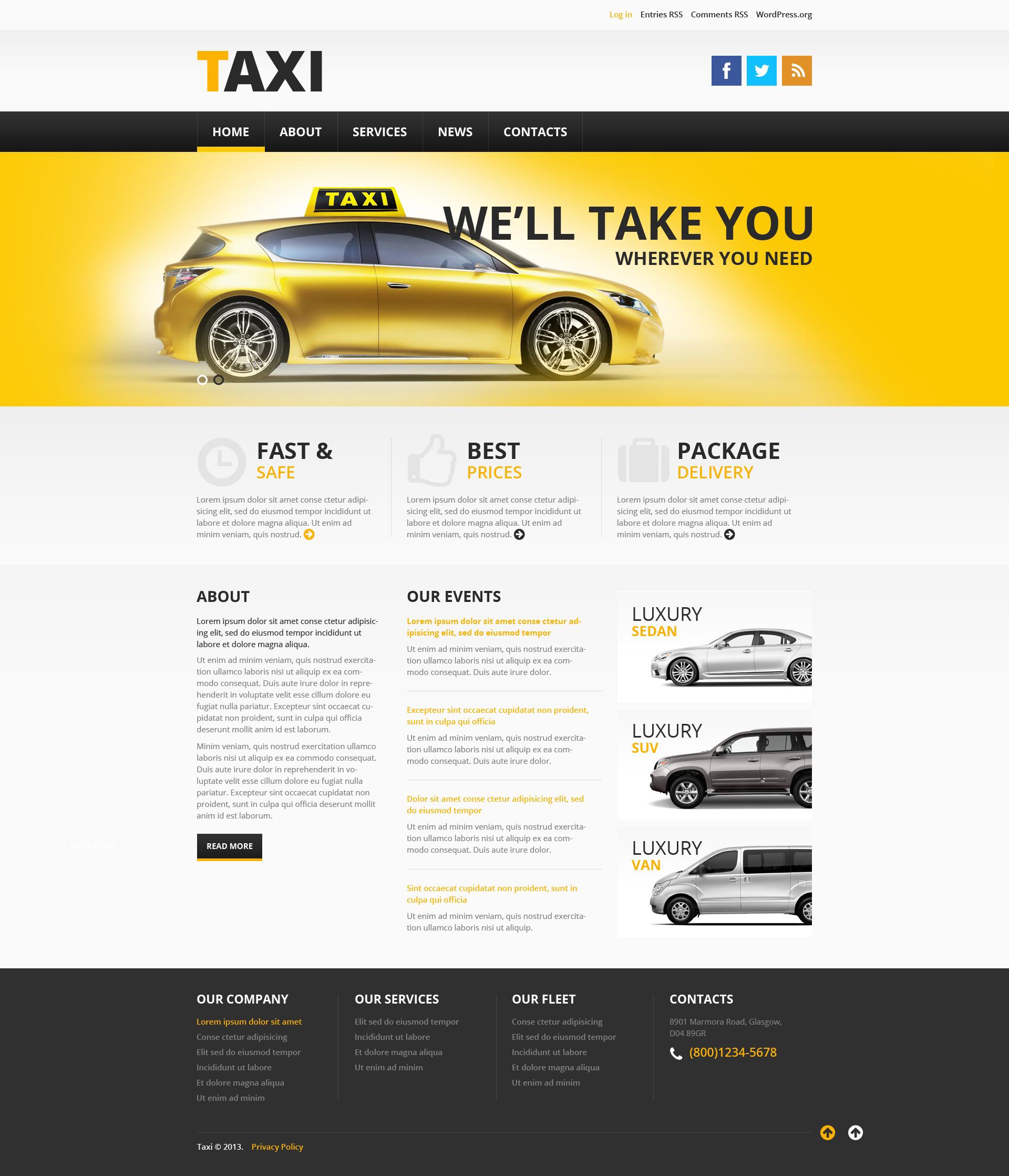 "Tema De WordPress ""Taxi Services"" #46379"