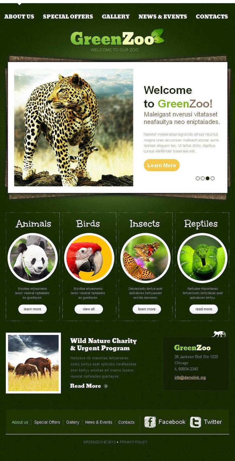 Zoo Facebook HTML CMS Template New Screenshots BIG