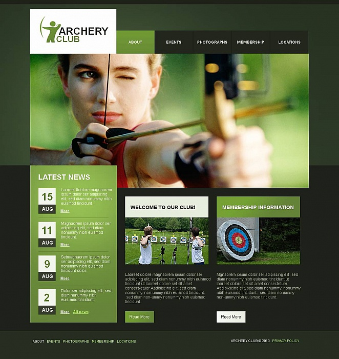 Archery Website Template In Green Tones - image