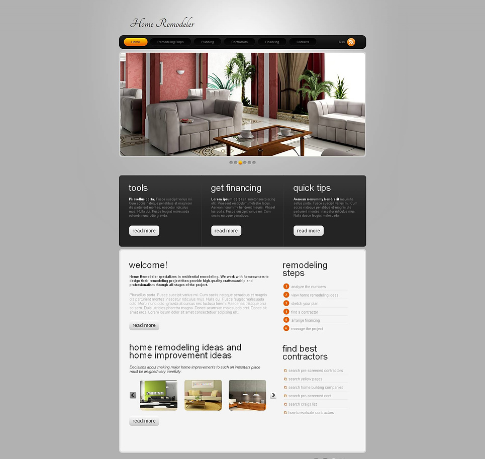 Home Remodeling Website Template With Sliding Thumbnail