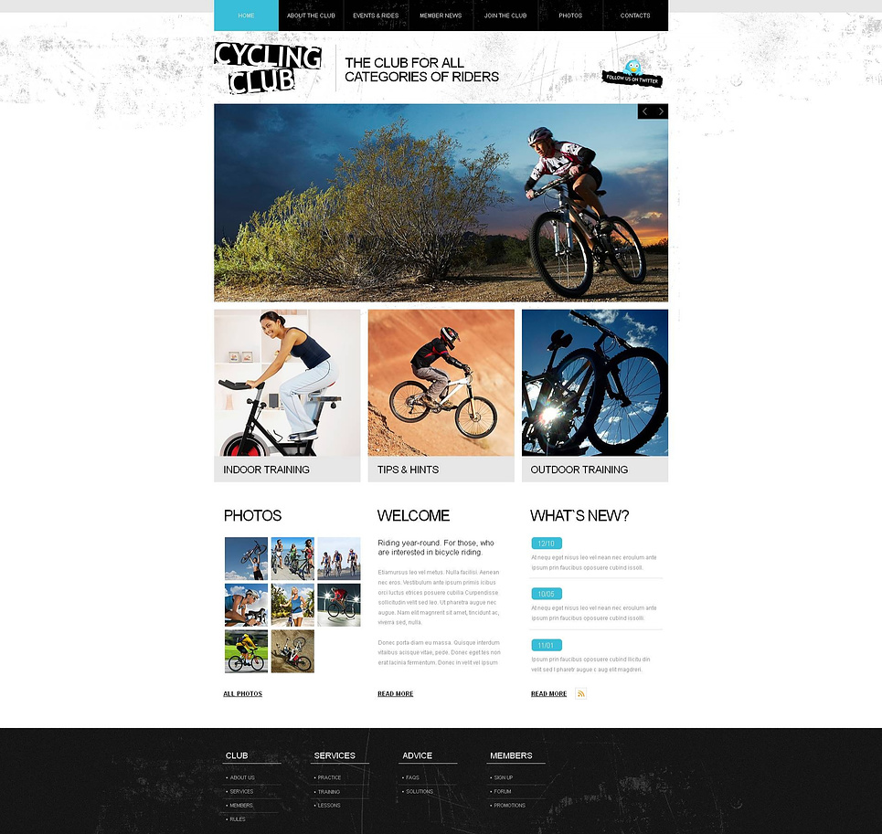 Black and White Website Template for Cycling Clubs - image