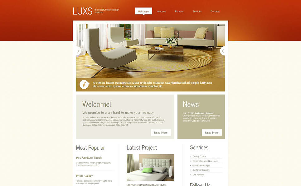 Plantilla Moto CMS HTML #46411 para Sitio de Muebles New Screenshots BIG