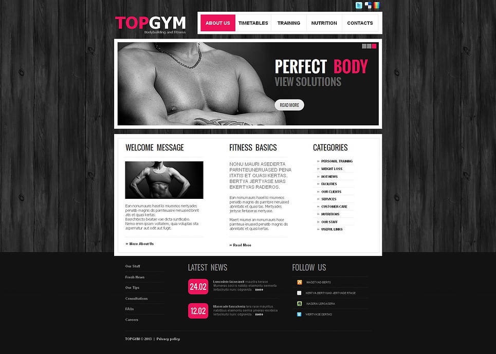 Fitness Center Web Template with Dark Wood Textured Background - image