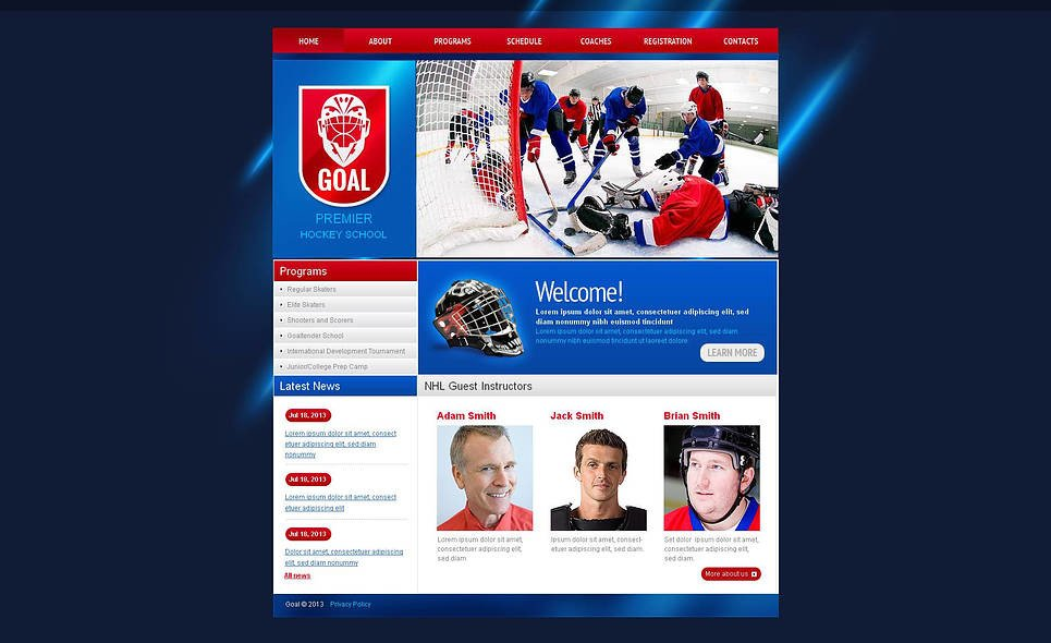 Plantilla Moto CMS HTML #46456 para Sitio de Hockey New Screenshots BIG