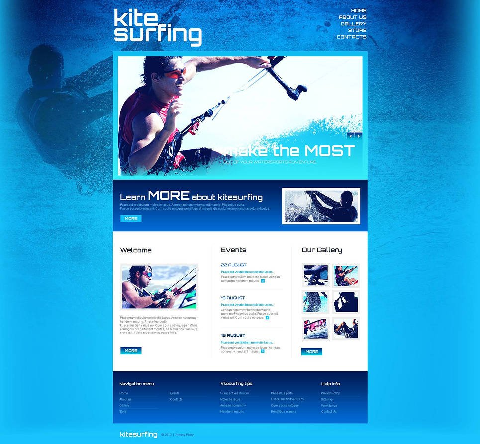 Extreme Sports Website Template in Blue Colors - image