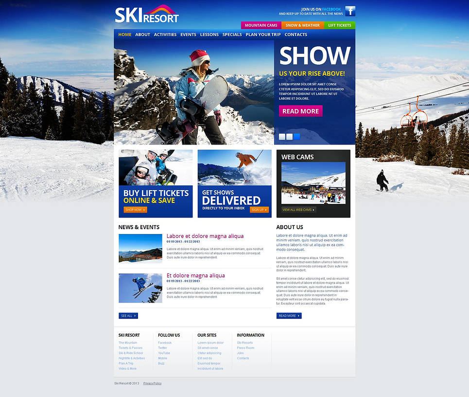 Website Template for Ski Resort - image