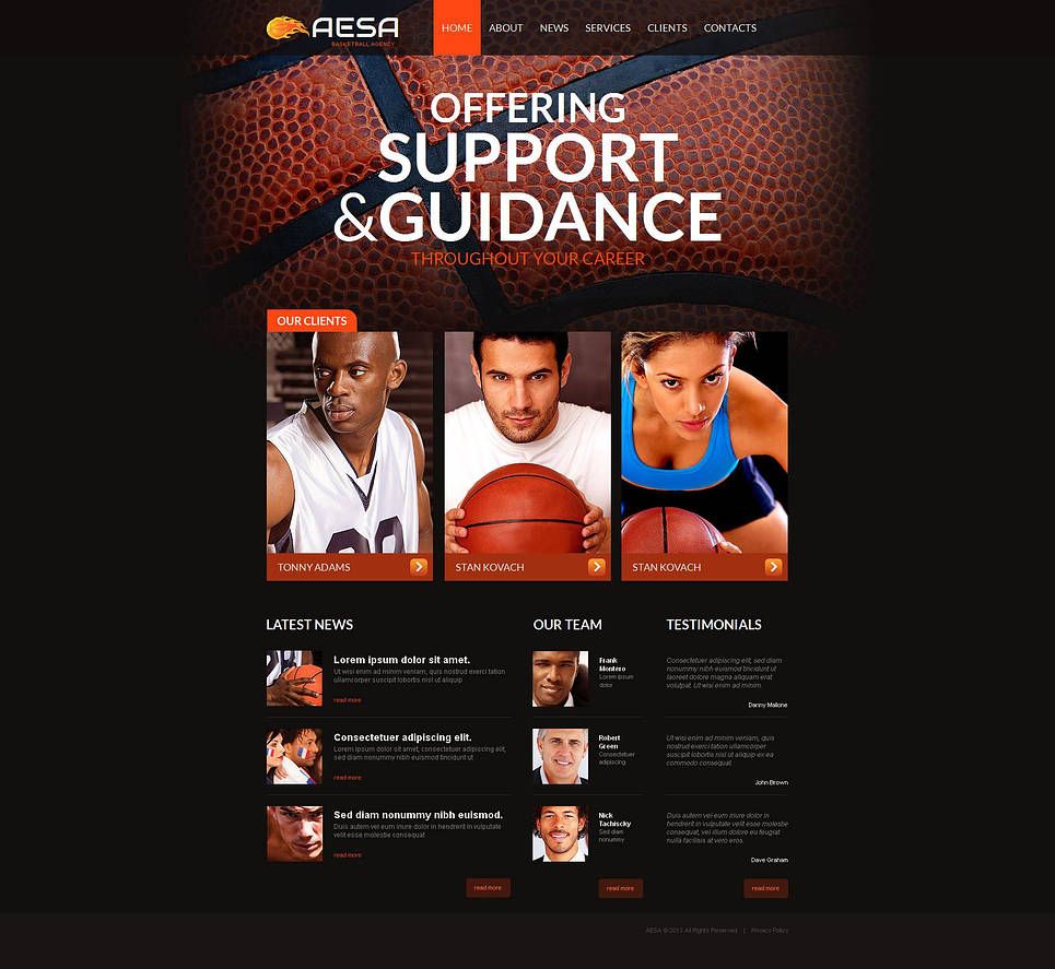 Sport Website Template for Basketball Player Agents - image