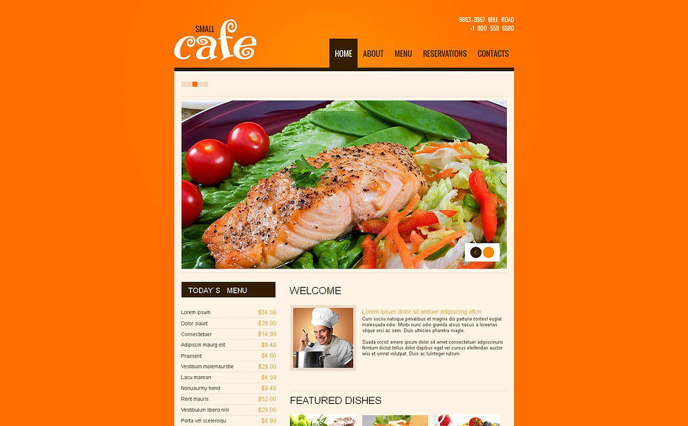 Template Moto CMS HTML  #46471 per Un Sito di Caffetteria New Screenshots BIG