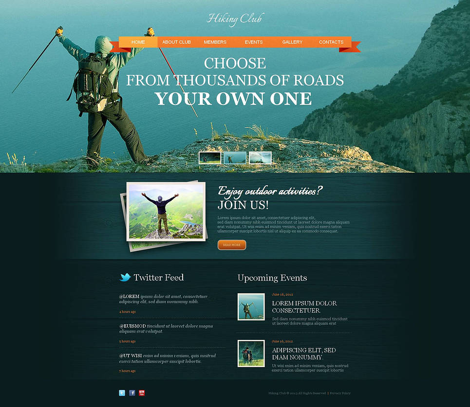 Hiking Club Website Template with a jQuery Slider and a Photo Gallery - image