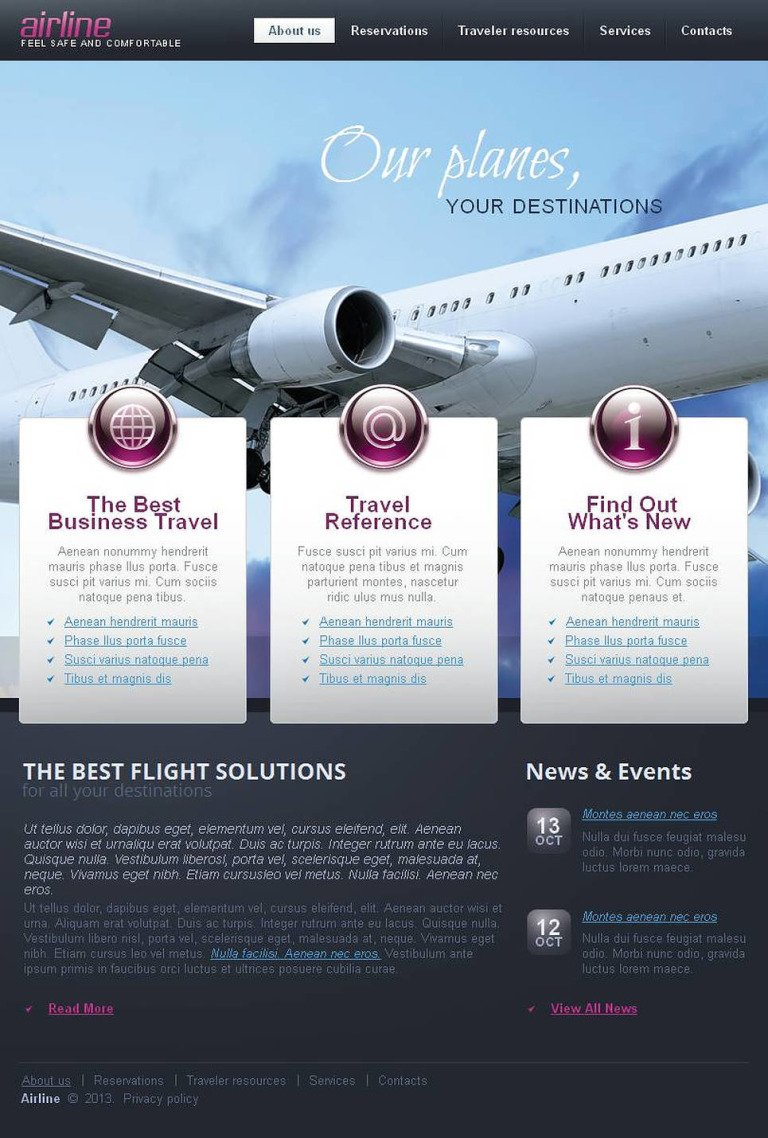 Airline Tickets Facebook HTML CMS Template New Screenshots BIG
