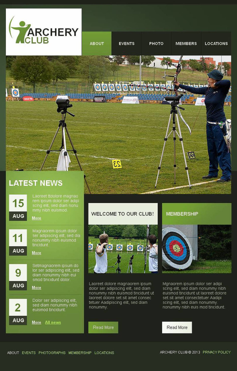 Archery Facebook HTML CMS Template New Screenshots BIG