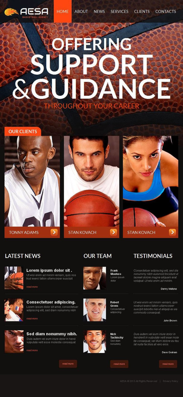 Basketball Facebook HTML CMS Template New Screenshots BIG