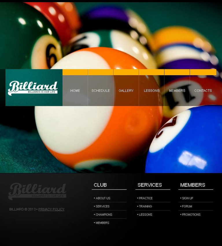 Billiards Facebook HTML CMS Template New Screenshots BIG