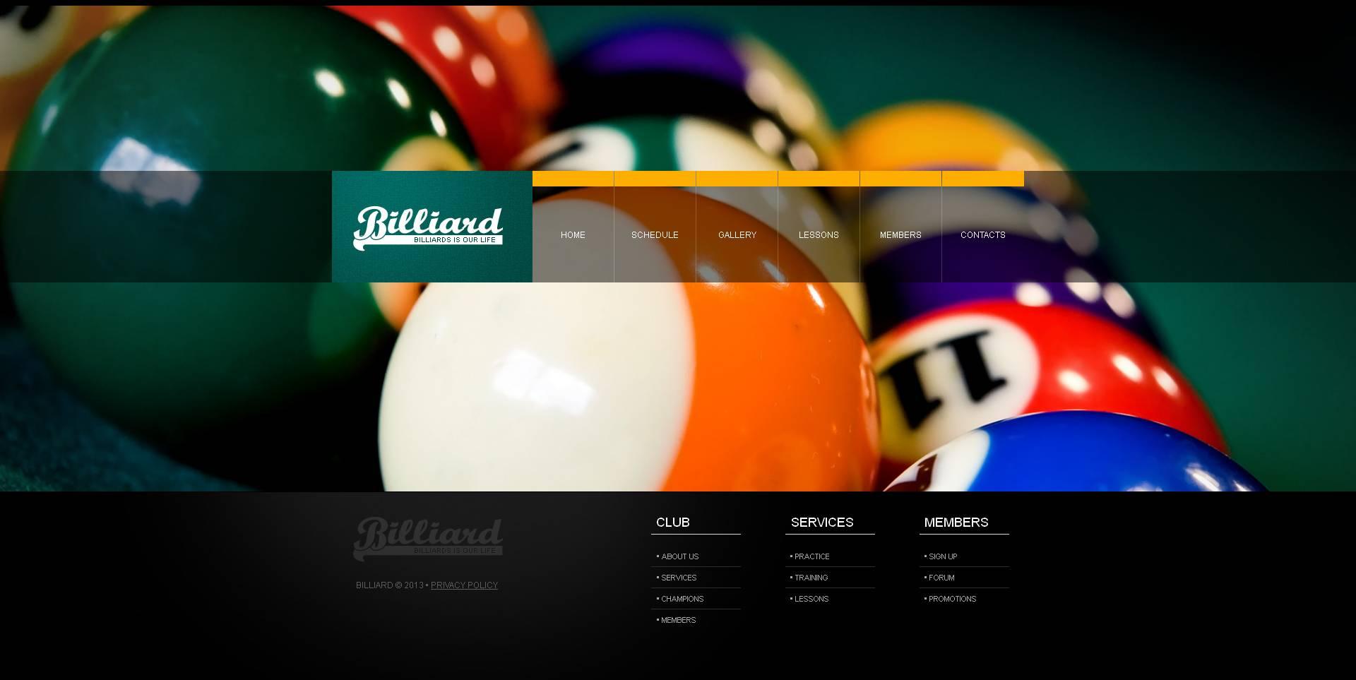 Billiards Moto CMS HTML Template